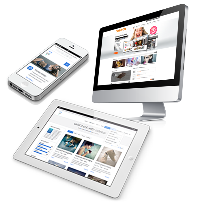 Pic highlighting responsive website design by showing cell phone ipad and desktop